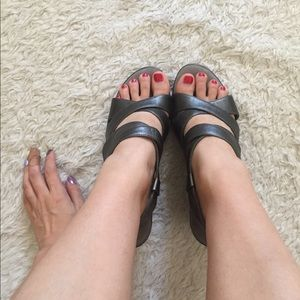 Gray strappy wedged sandals